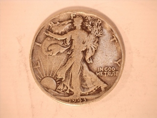 1945-Walking Liberty half dollar, coins