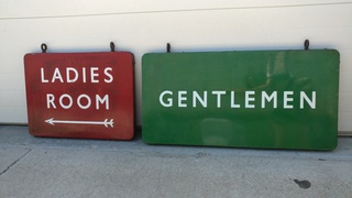 Long Train Station Double Sided Porcelain Restroom Signs, Ladies / Gentleman