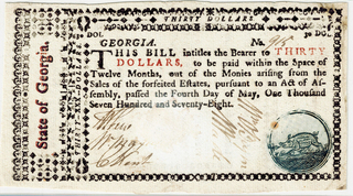 May 4, 1778 Georgia $30.00 Note, GA-123