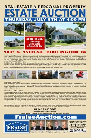 Estate Auction Of Real Estate Personal Property In Burlington Iowa By Fraise Auction Real