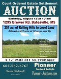 Court Ordered Estate Settlement Auction - 251 ac. Rolling to Level Land Offered in 6 Tracts of 19 acres and Up - 1295 Brewer Rd. Batesville MS