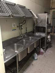 Stainless Steel Sinks & Pass Through Commercial Dishwasher, All Equipment Disconnected