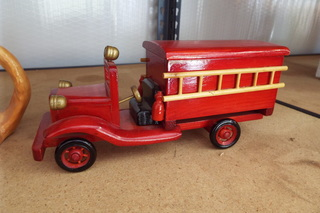 Fireman Cookie Jars & Wooden Fire Truck