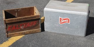 Vintage Storz Beer Cooler and Antique Wooden Falstaff Crate