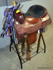 Saddle with Blanket, Crop, Harness, & Stand