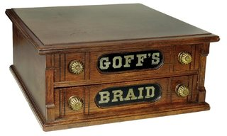 """Country store braid cabinet, Goff's Braid, oak 2-drawer w/mushroom knobs, Exc cond w/orig front & back decals, 8""""H x 18""""Sq."""