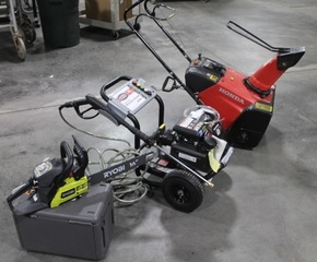 Outdoor Power Equipment, Pressure Washer, Snow Blower and Chain Saw - New or Like New