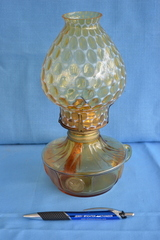 Coin lamp w/ opalescent shade