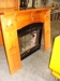 Fireplace insert stove w/oak mantle: