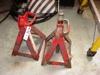 Lot 49 Pair of red jack stands: