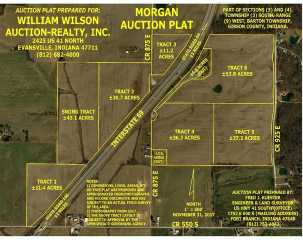 Gibson County Indiana Map.233 6 Acres East Gibson County Farmland William Wilson Auction