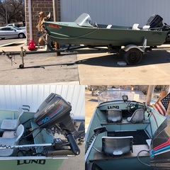 Lund Bass Boat w/ Boat Trailer, V-Bottom, Fish Finder, Trolling Motor and 50HP Mercury Outboard Motor