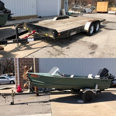 Lund Bass Boat w/ Boat Trailer, V-Bottom, Fish Finder, Trolling Motor and 50HP Mercury Outboard Motor, 2011 Finish Line 20' Tandem Axle Tilt Bed Trailer