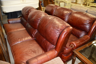 Smith Brothers brown leather sofas