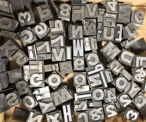 Vintage Type Set Lead Letters and Numbers
