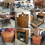 Rare Tandem Tricycle, Antique Furniture, Barn Door Furniture Timed Online Auction