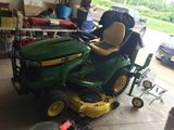 John Deere yard tractor, Tools, Motorcycle, Garage items