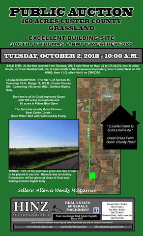 160 ACRES GRASSLAND SOUTH OF THOMAS & NW OF WEATHERFORD
