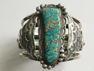 Vintage Navajo Persin Turquoise Argent Sterling With A Long Standing Reputation Bijoux Fantaisie Breloques, Bracelets Breloques