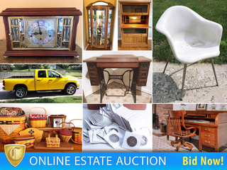 2007 Dodge Ram Pickup Truck, Antique Furniture & Quilts, Longaberger, Primitives, Antique Crocks, Rolltop Desk, Signed Baseball Mickey Mantle, Tools, Power Tools