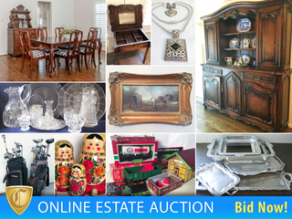 Impeccable Furnishings, Designer Decor, Hand Tufted Rugs, Four Poster Bed, Large Antique Hutch, Original Oil Paintings, M.A. Hadley Pottery, Outdoor Furniture, Tools and More.