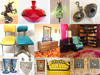 Independence Estate Auction Antique Furniture & Oriental Rugs, Burl Wood Mersman Table, Statues, Art Prints, Tiffin Glassware, Tools and More