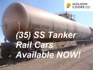 (35) Rail Car Tanks, Stainless Available NOW -- Surplus to Major Beer Producer -- Located Colorado, USA